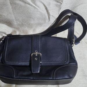 Coach, black leather purse adjustable strap.